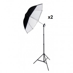 "Used - 45"" Black and White Umbrella with Stand (2x)"