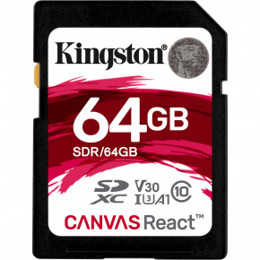 Kingston Canvas React 100 Mb/s SDHC/SDXC UHS-I SD Memory Card - 64GB