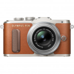 PEN E-PL8 (brown) with 14-42 mm Lens