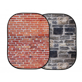 5 x 7' Urban Collapsible « Pop up » Background (Red Brick/Grey Stone)